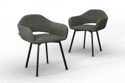 Set Of 2 Chairs Oldenburg | Taupe -Linen Touch
