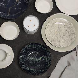 Tellerset 4-er Set Look Marmor | Schwarz & Grün