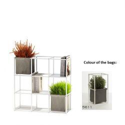 Modulares Pflanzengestell 9x Weiß + 2 Dunkelgraue Taschen