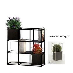 Modulares Pflanzengestell 9x Schwarz + 2 Dunkelgraue Taschen