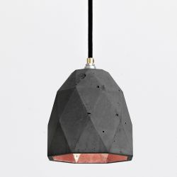 Pendant Light [T1] Triangle | Dark Grey Concrete & Copper Plating
