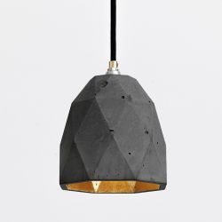 Pendant Light [T1] Triangle | Dark Grey Concrete & Gold Plating