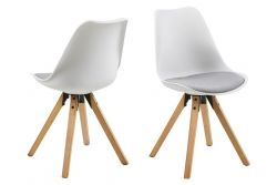 Chairs Nida Set of 2 | White + Light Grey Cushion