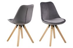 Set of 2 Dining Chairs Nida | Dark Grey + Rubber Wooden Legs