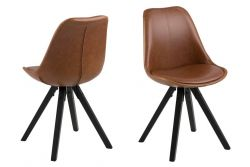Chairs Nida Set of 2 | Brown + Black Legs
