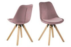 Set of 2 Dining Chairs Nida | Pink + Rubber Wooden Legs