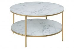Table d'Appoint Ali Ø 80 Double | Blanc Marbre / Or