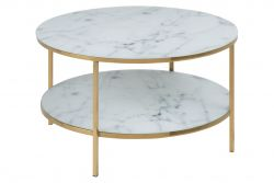 Coffee Table Ali Ø 80 Double | White Marble / Gold