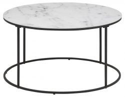 Coffee Table Wilson Ø 80 | White Marble / Black