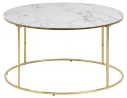 Table d'Appoint Wilson Ø 80 | Blanc Marbre / Or