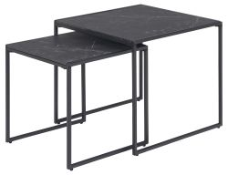 Set of 2 Side Tables Infinity 50 x 50 x 45 cm | Black