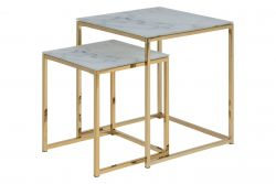 Table d'Appoint Ali Set de 2 | Blanc Marbre