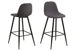 Set of 2 Bar Stools Wendy | Dark Grey / Metal