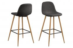 Bar Stool Wendy Set of 2 | Dark Grey / Wood