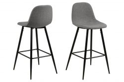 Set of 2 Bar Stools Wendy | Grey / Metal