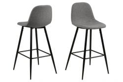 Bar Stool Wendy | Set of 2 | Grey / Metal