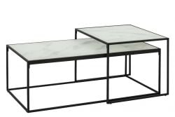 Coffee Table Wilson Set of 2 | White Marble / Black
