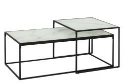 Table d'Appoint Wilson Set de 2 | Blanc Marbre / Noir