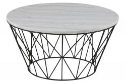 Table d'Appoint Derby Ø 80 | Blanc Marbre / Noir
