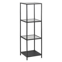 High Wall Unit Stanley with Glass Shelves | Black