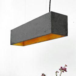 Lampe Suspendue B4 | Beton Gris Foncé + Or