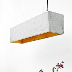 Pendant Lamp B4 | Light Grey Concrete + Gold
