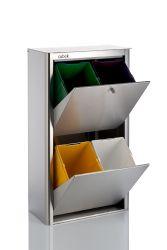 Recycling-Behälter mit vier Einzelbehältern Cubek Inox | Edelstahl
