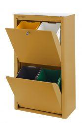 Recycling-Behälter mit vier Einzelbehältern Cubek | Ocker