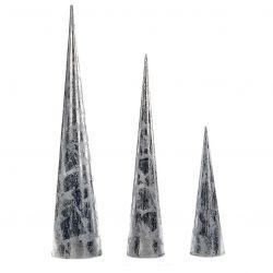 3er-Set Kegelförmige Metallbäume | Silber