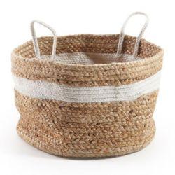 Jute Basket | Natural & White