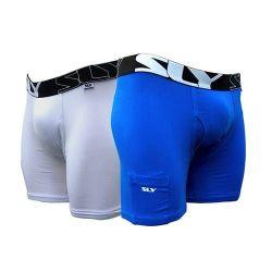2 Pack Baumwollunterwäsche | Weiß & Blau