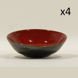 Bowl | Red & Silver | Set of 4