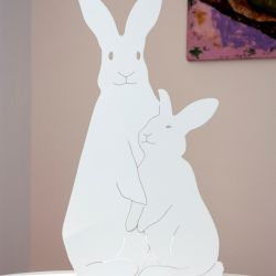 Decoupage Lamp Bunnies | Ivory White