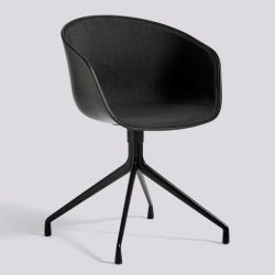 About A Chair AAC20 | Black Powder Coated Aluminium & Black / Remix 183 Front Upholstery