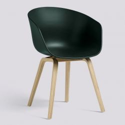 About A Chair AAC22 | Matt Lacquered Oak Veneer & Hunter Green