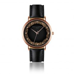 Watch Coral | Black Leather