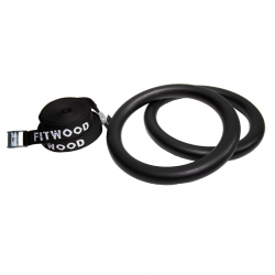 Adult Gym Rings Black Wood | Black Strap