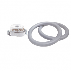 Adult Gym Rings Grey Wood | White Strap