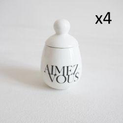 4er-Set Äggcøddler Aimez-vous | Weiß