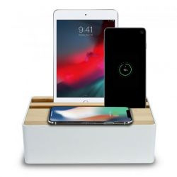 Wireless Qi and USB Docking Station | White/Bamboo