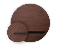 Circle Wall Shelf with Storage Alba Medium | Walnut, Black & Walnut