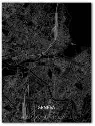 Metall-Wanddekoration | Stadtplan | Geneva