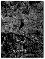 Metall-Wanddekoration | Stadtplan | Hamburg