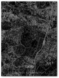 Metall-Wanddekoration | Stadtplan | Tokyo