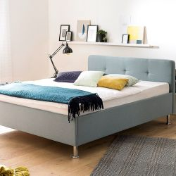 Upholstered Bed Amelie 180 x 200 cm | Light Blue with Metal Legs