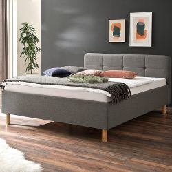 Upholstered Bed Amelie 180 x 200 cm | Light Grey with Wooden Legs