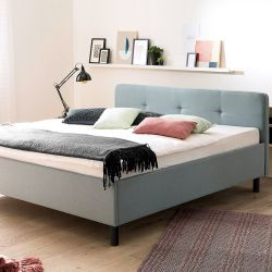 Upholstered Bed Amelie 180 x 200 cm | Light Blue with Black Legs