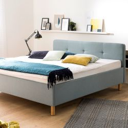 Upholstered Bed Amelie 180 x 200 cm | Light Blue with Wooden Legs