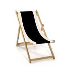 Armless Beach Chair | Black/Natural/White Canvas
