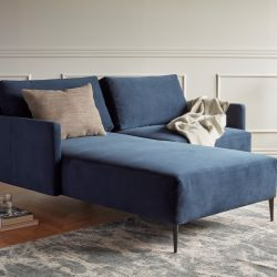 Lounge Chair + 1 Seater Sofa Askorn | Dark Blue & Metal Legs